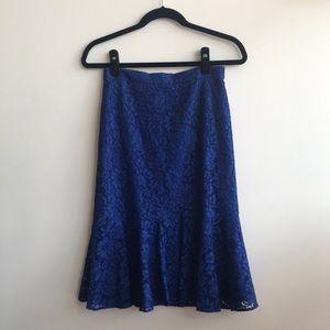 J.Crew Cobalt Blue Lace Trumpet Skirt